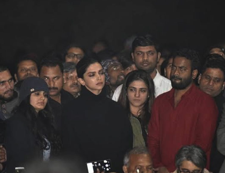 At JNU's Sabarmati Hostel bollywood actress Deepika Padukone reached
