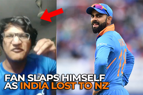 Fan Slaps Himself after India Lost to New Zealand