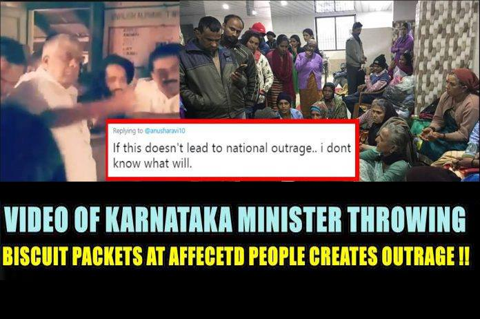 HD Kumaraswamy backs up a minister who threw biscuits at Flood victims